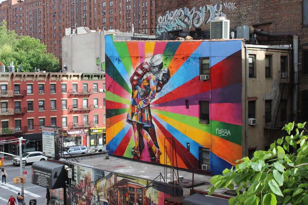 A wonderful mural art that's seen from The High Line park in Manhattan, on the West Side.