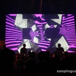 Mike Shannon on stage with visuals at the Museum of Contemporary Art, Montreal.